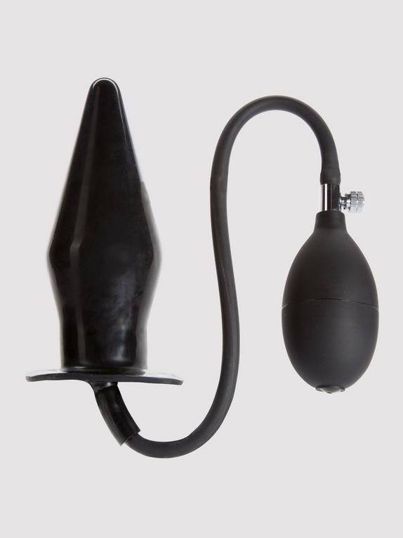 Cock Locker Large Inflatable Butt Plug 7.5 Inch, Black, hi-res