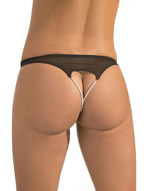 Cottelli Double Pearl Crotchless Briefs, Black, hi-res