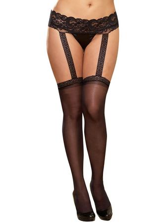 Dreamgirl Plus Size Sheer Garter Belt Pantyhose