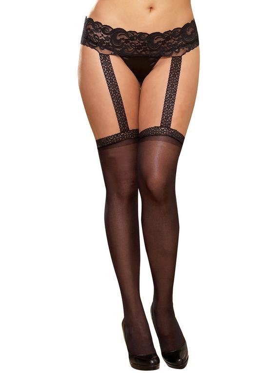 Dreamgirl Sheer Garter Pantyhose, Black, hi-res