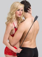 Bondage Boutique Slim Leather Riding Crop, Black, hi-res