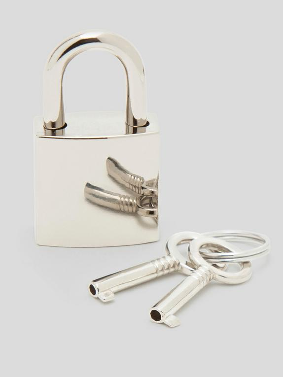 Bondage Boutique Padlock and Key, Silver, hi-res