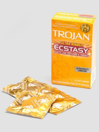 Trojan Ultra Ribbed Ecstasy Condoms (10 Count)