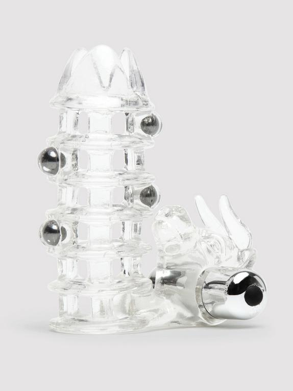 El Toro Vibrating Penis Sleeve Cock Ring and Beaded Enhancer, Clear, hi-res