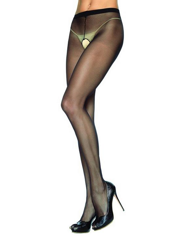 Leg Avenue Sheer Nylon Crotchless Pantyhose, Black, hi-res