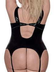 Exposed Liquid Onyx Plus Size Cupless Merry Widow and G-String Set, Black, hi-res