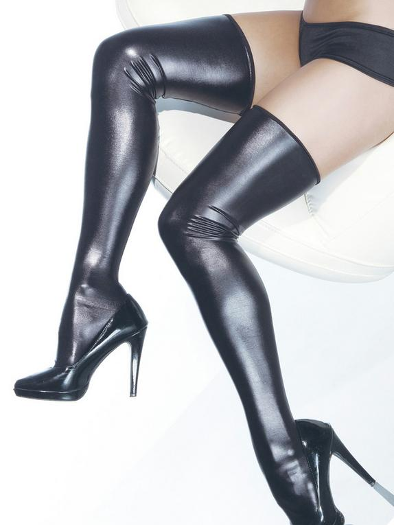 Coquette Darque Wet Look Thigh High Stockings, Black, hi-res