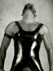 Renegade Rubber Latex Wear Male Open Leotard, Black, hi-res