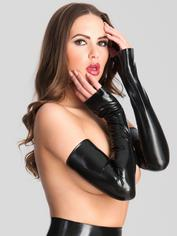 Rubber Girl Latex Extra Long Latex Gauntlets, Black, hi-res