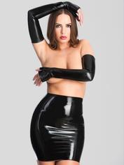 Rubber Girl Extra Long Latex Gauntlets, Black, hi-res