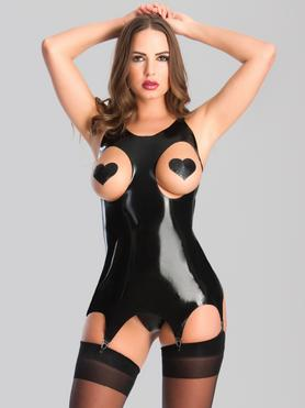 Rubber Girl Open Cup Latex Suspender Dress