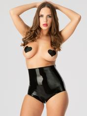 Rubber Girl Latex Retro High Waisted Latex Knickers, Black, hi-res