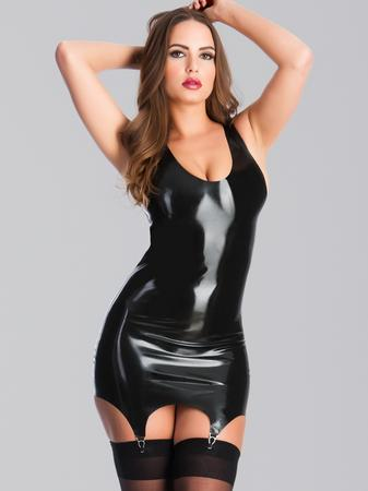 Rubber Girl Latex Wear Mini Dress with Garters