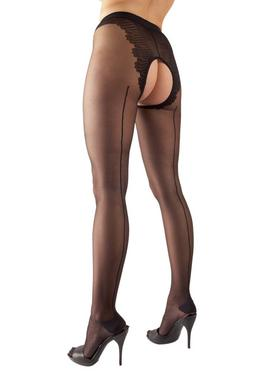 Cottelli Crotchless Tights with Back Seam