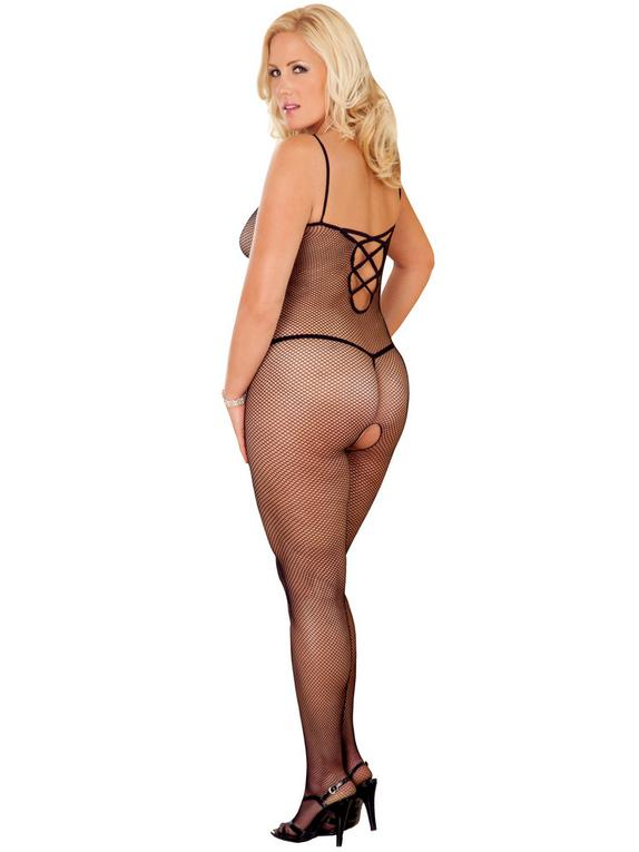 Rene Rofe Plus Size Criss-Cross Strap Crotchless Fishnet Bodystocking, Black, hi-res