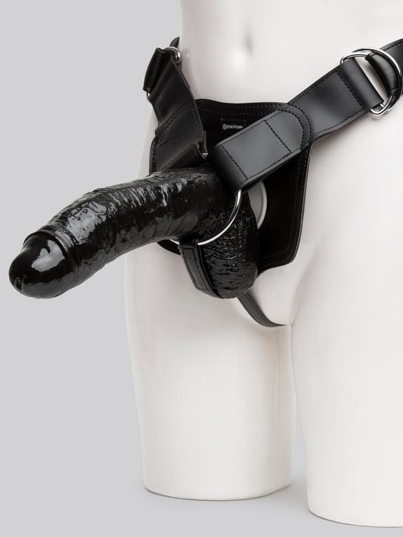 Fetish Fantasy Unisex Extreme Hollow Strap-On Dildo 8 Inch, Black, hi-res