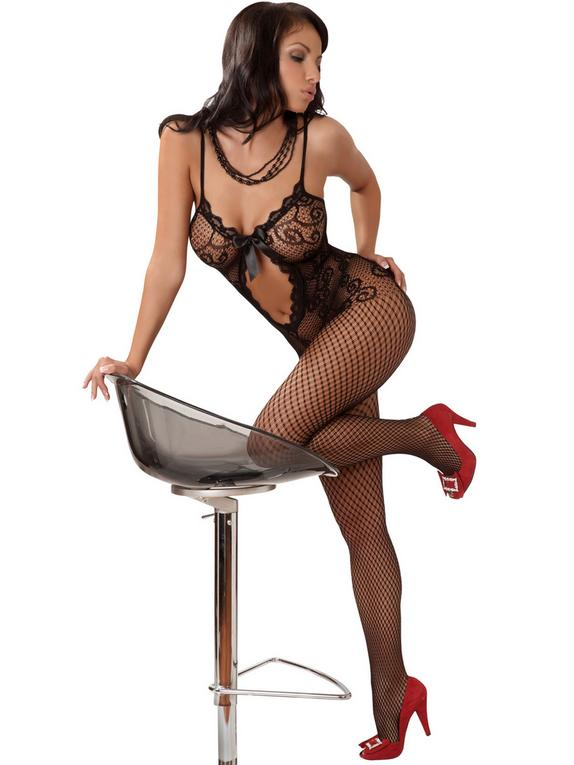 Livia Corsetti Magali Lace and Fishnet Bodystocking, Black, hi-res