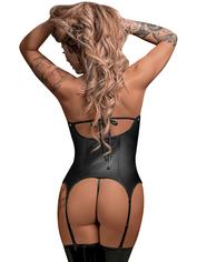 Exposed Lust Basque and Suspenders Set, Black, hi-res