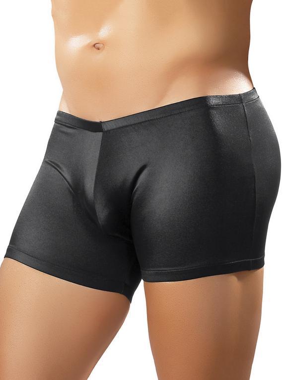 Male Power Shiny Spandex Trunk Shorts, Black, hi-res