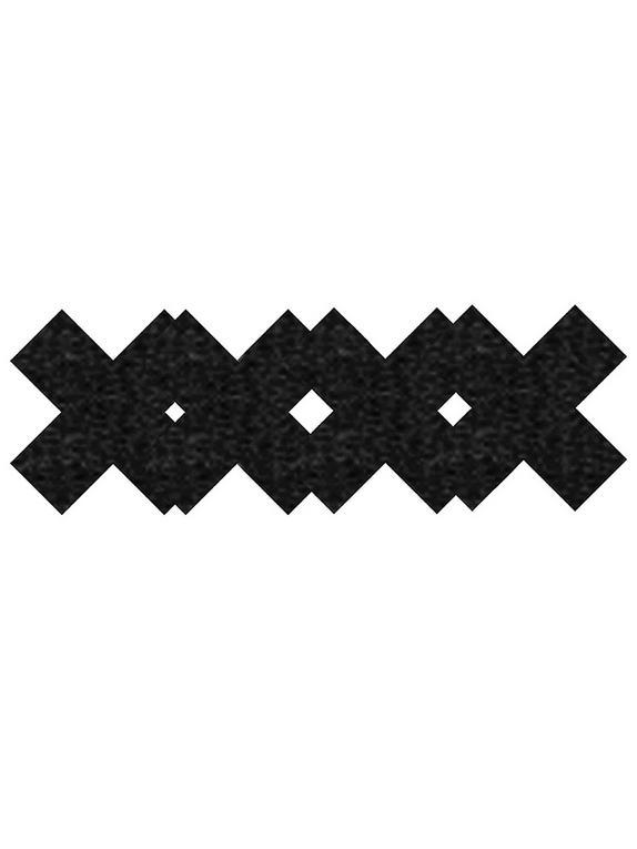 Peekaboos Premium Cross Pattern Nipple Pasties, Black, hi-res