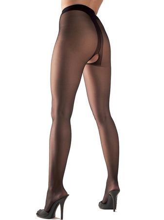 Cottelli Crotchless Black Pantyhose