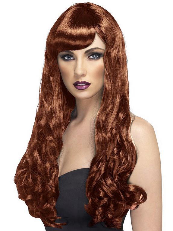 Long Wavy Brunette Wig with Fringe, Brown, hi-res
