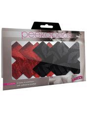 Peekaboos Premium Stolen Kisses X Nipple Pasties, Black, hi-res