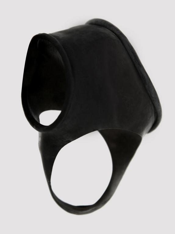 Latex Cock Ring Sleeve and Ball Divider, Black, hi-res
