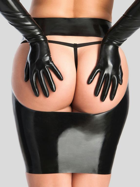Rubber Girl Latex Spanking Mini Skirt, Black, hi-res