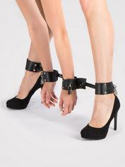 Bondage Boutique Extreme Expandable Spreader Bar with Leather Cuffs, Black, hi-res