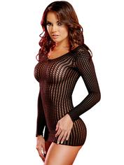 Lapdance Centre Stage Long Sleeve Crochet Mini Dress, Black, hi-res
