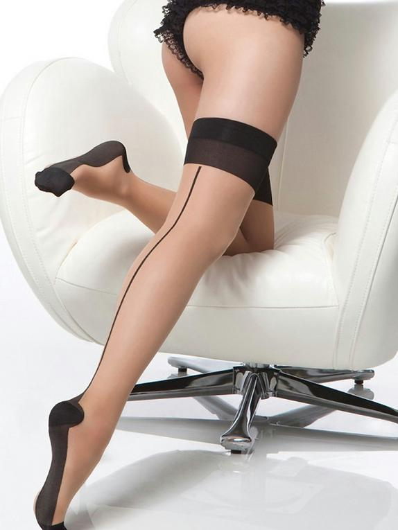 Coquette Retro Cuban Heel Back-Seam Stockings, Beige, hi-res