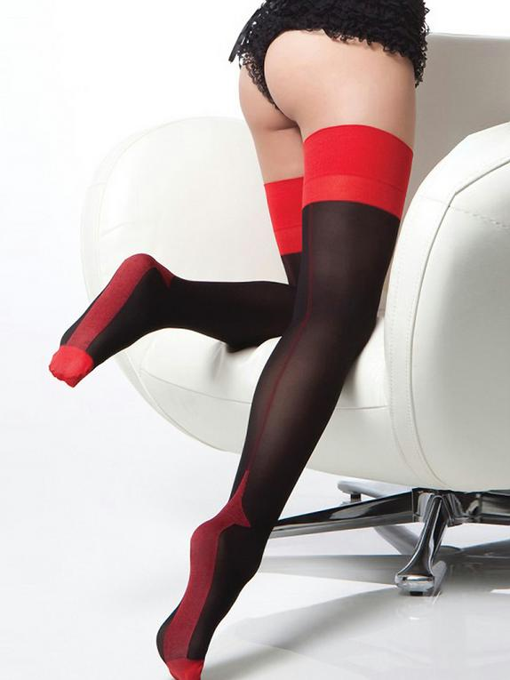 Coquette Retro Cuban Heel Back-Seam Stockings, Black, hi-res
