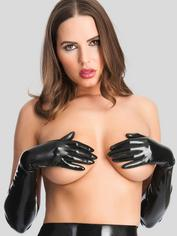 Rubber Girl Latex Long Latex Gloves, Black, hi-res