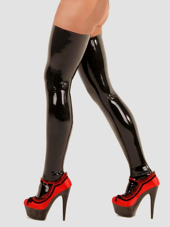 Rubber Girl Latex Stockings, Black, hi-res
