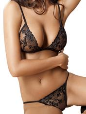 Anais Floral Lace Matching Bra and Knickers, Black, hi-res