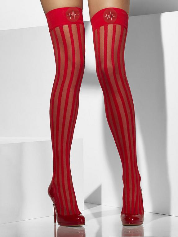Fever Sexy Nurse Sheer Stockings, Red, hi-res