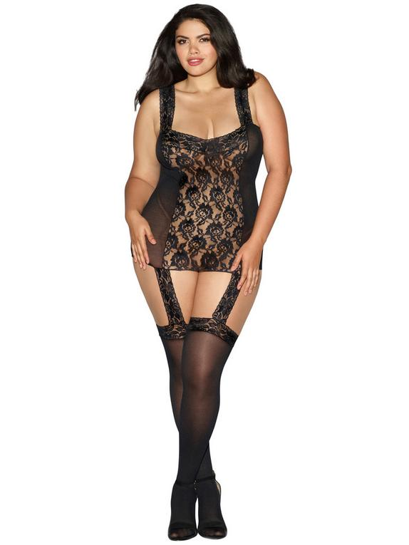 Dreamgirl Plus Size Sheer Lace All-In-One Garter Dress and Stockings, Black, hi-res