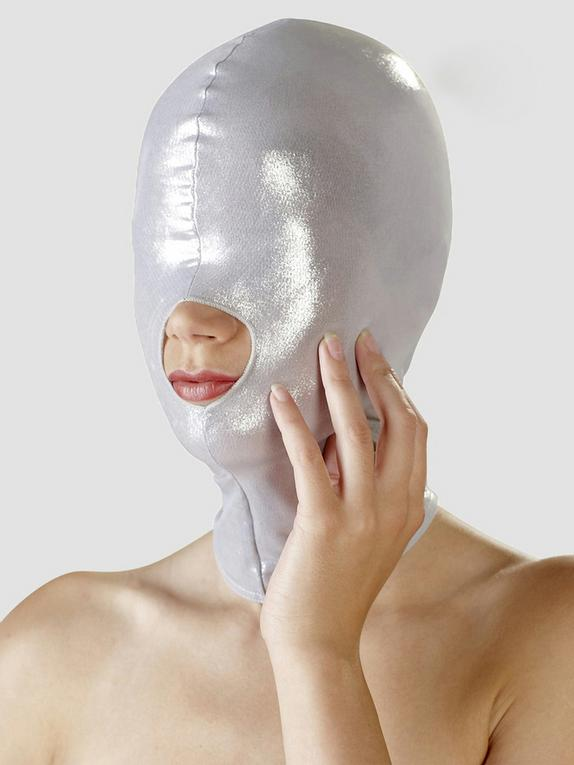 Bad Kitty Open-Mouthed Zentai Hood, Silver, hi-res