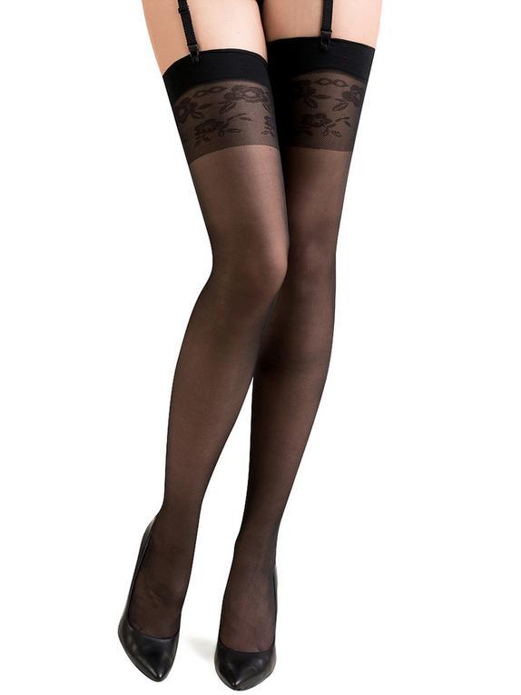 Gabriella Katia Floral Patterned Top Stockings, Black, hi-res