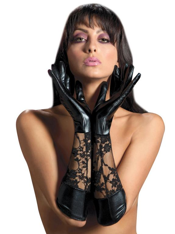 Seven 'til Midnight Lace and Wet Look Elbow Length Gloves, Black, hi-res