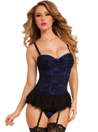 Seven 'til Midnight Blue Underwired Lace Bustier