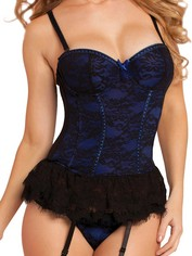 Seven 'til Midnight Blue Underwired Lace Bustier, Blue, hi-res