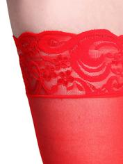 Fever Sheer Hold-Ups with Lace Tops, Red, hi-res