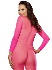 Dreamgirl Plus Size Fishnet Bodystocking, Pink, hi-res