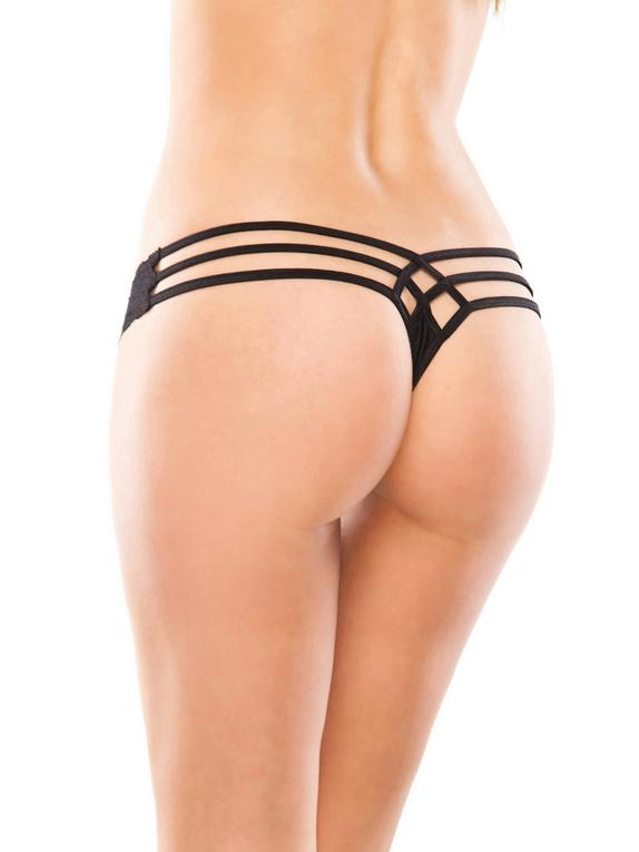 Coquette Lace and Lycra Cage-Back Thong, Black, hi-res