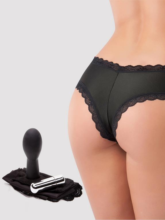 Love Rider Vibrating Knickers with 3 Inch Dildo, Black, hi-res
