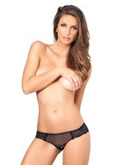 Rene Rofe Sheer Polka Dot Crotchless Knickers, Black, hi-res
