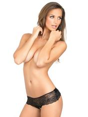 Rene Rofe Crotchless Lace Knickers with Bow Back, Black, hi-res