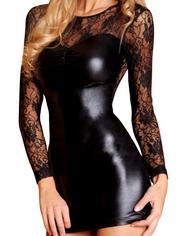 7heaven Long Sleeve Wet Look and Lace Mini Dress, Black, hi-res